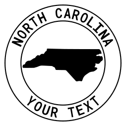 North Carolina map outline shape state with text in a circle stencil clip art pattern print download cricut or silhouette design free template, cutting file.