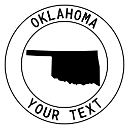 Oklahoma map outline shape state with text in a circle stencil clip art pattern print download cricut or silhouette design free template, cutting file.