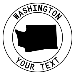 Washington map outline shape state with text in a circle stencil clip art pattern print download cricut or silhouette design free template, cutting file.