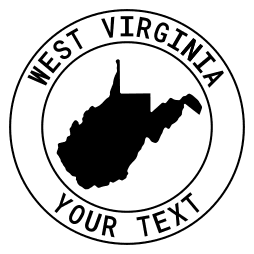 West Virginia map outline shape state with text in a circle stencil clip art pattern print download cricut or silhouette design free template, cutting file.