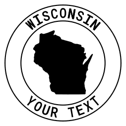 Wisconsin map outline shape state with text in a circle stencil clip art pattern print download cricut or silhouette design free template, cutting file.