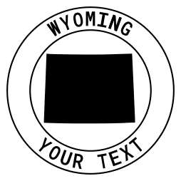 Wyoming map outline shape state with text in a circle stencil clip art pattern print download cricut or silhouette design free template, cutting file.