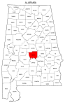 Map of Alabama highlighting Autauga county, pattern, stencil, template, svg.