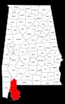 Map of Alabama highlighting Baldwin county, pattern, stencil, template, svg.