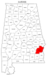 Map of Alabama highlighting Barbour county, pattern, stencil, template, svg.