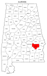 Map of Alabama highlighting Bullock county, pattern, stencil, template, svg.