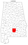 Map of Alabama highlighting Butler county, pattern, stencil, template, svg.