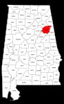 Map of Alabama highlighting Calhoun county, pattern, stencil, template, svg.