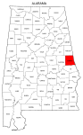 Map of Alabama highlighting Chambers county, pattern, stencil, template, svg.