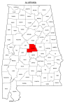 Map of Alabama highlighting Chilton county, pattern, stencil, template, svg.