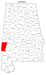 Map of Alabama highlighting Choctaw county, pattern, stencil, template, svg.