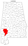 Map of Alabama highlighting Clarke county, pattern, stencil, template, svg.