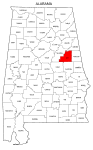 Map of Alabama highlighting Clay county, pattern, stencil, template, svg.