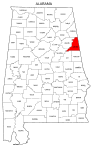 Map of Alabama highlighting Cleburne county, pattern, stencil, template, svg.