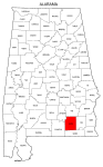 Map of Alabama highlighting Coffee county, pattern, stencil, template, svg.
