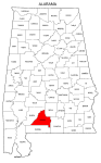 Map of Alabama highlighting Conecuh county, pattern, stencil, template, svg.