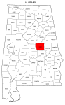 Map of Alabama highlighting Coosa county, pattern, stencil, template, svg.