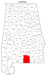 Map of Alabama highlighting Covington county, pattern, stencil, template, svg.