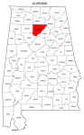 Map of Alabama highlighting Cullman county, pattern, stencil, template, svg.