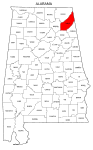Map of Alabama highlighting DeKalb county, pattern, stencil, template, svg.