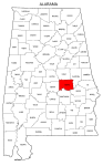 Map of Alabama highlighting Elmore county, pattern, stencil, template, svg.