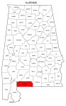 Map of Alabama highlighting Escambia county, pattern, stencil, template, svg.
