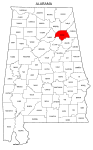 Map of Alabama highlighting Etowah county, pattern, stencil, template, svg.
