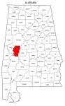 Map of Alabama highlighting Hale county, pattern, stencil, template, svg.