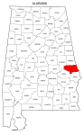 Map of Alabama highlighting Lee county, pattern, stencil, template, svg.
