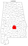 Map of Alabama highlighting Lowndes county, pattern, stencil, template, svg.