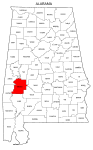 Map of Alabama highlighting Marengo county, pattern, stencil, template, svg.