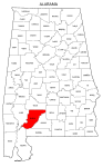 Map of Alabama highlighting Monroe county, pattern, stencil, template, svg.