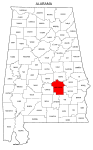 Map of Alabama highlighting Montgomery county, pattern, stencil, template, svg.