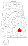 Map of Alabama highlighting Pike county, pattern, stencil, template, svg.