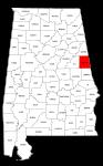 Map of Alabama highlighting Randolph county, pattern, stencil, template, svg.