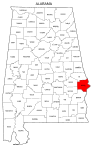 Map of Alabama highlighting Russell county, pattern, stencil, template, svg.
