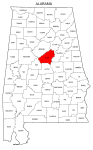 Map of Alabama highlighting Shelby county, pattern, stencil, template, svg.