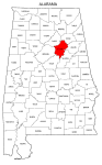 Map of Alabama highlighting St Clair county, pattern, stencil, template, svg.