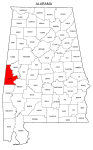 Map of Alabama highlighting Sumter county, pattern, stencil, template, svg.