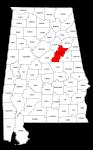 Map of Alabama highlighting Talladega county, pattern, stencil, template, svg.