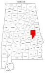 Map of Alabama highlighting Tallapoosa county, pattern, stencil, template, svg.