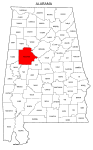 Map of Alabama highlighting Tuscaloosa county, pattern, stencil, template, svg.