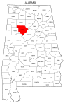 Map of Alabama highlighting Walker county, pattern, stencil, template, svg.