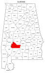 Map of Alabama highlighting Wilcox county, pattern, stencil, template, svg.