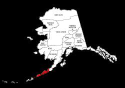 Map of Alaska highlighting Aleutians East county, pattern, stencil, template, svg.
