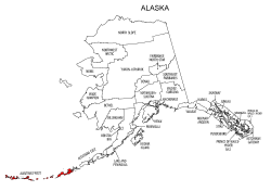 Map of Alaska highlighting Aleutians West county, pattern, stencil, template, svg.