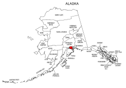 Map of Alaska highlighting Anchorage county, pattern, stencil, template, svg.