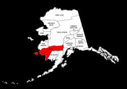 Map of Alaska highlighting Bethel county, pattern, stencil, template, svg.