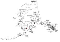 Map of Alaska highlighting Bristol Bay county, pattern, stencil, template, svg.