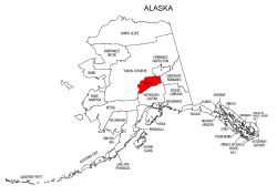 Map of Alaska highlighting Denali county, pattern, stencil, template, svg.